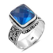 Bali Legacy Collection Caribbean Quartz Sterling Silver Ring (Size 10.0) TGW 6.50 cts.