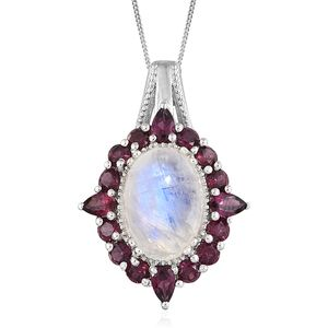 Rainbow Moonstone, Orissa Rhodolite Garnet Platinum Over Sterling Silver Pendant With Chain (20 in) TGW 11.09 cts.