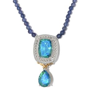 Peacock Quartz, Catalina Iolite, Whie Topaz 14K YG and Platinum Over Sterling Silver Necklace With Chain (18 in) TGW 77.75 cts.