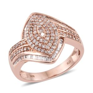 Natural Pink Diamond Vermeil RG Over Sterling Silver Ring (Size 9.0) TDiaWt 1.00 cts, TGW 1.00 cts.