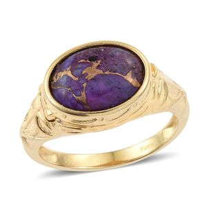 KARIS Collection - Mojave Purple Turquoise ION Plated 18K YG Brass Locket Engraved Ring (Size 8.0) TGW 5.70 cts.