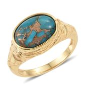 KARIS Collection - Mojave Blue Turquoise ION Plated 18K YG Brass Locket Engraved Ring (Size 8.0) TGW 5.90 cts.