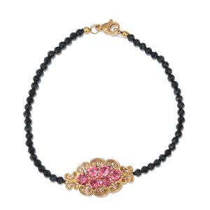 KARIS Collection - Thai Black Spinel ION Plated 18K YG Brass Bracelet (7.50 In) Made with SWAROVSKI Amethyst Crystal TGW 16.60 cts.