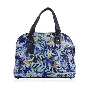 Vivid! by Sukriti Navy Blue Genuine Leather Hand Painted Satchel Bag with Standing Studs (16x5x10 in)