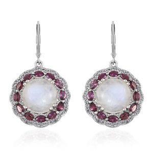 Rainbow Moonstone, Multi Gemstone Platinum Over Sterling Silver Lever Back Earrings TGW 19.07 cts.