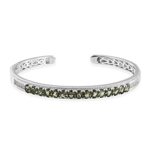 Bohemian Moldavite, White Topaz Platinum Over Sterling Silver Cuff (7.25 in) TGW 5.65 cts.