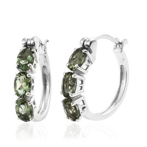 Bohemian Moldavite Platinum Over Sterling Silver Trilogy Hoop Earrings TGW 2.04 cts.