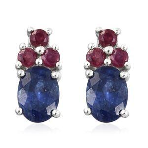 Masoala Sapphire, Niassa Ruby Platinum Over Sterling Silver Stud Earrings TGW 2.70 cts.