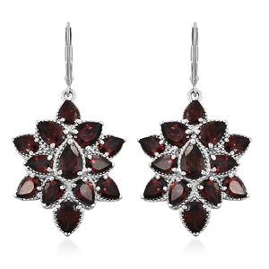 Mozambique Garnet Platinum Over Sterling Silver Floral Lever Back Earrings TGW 16.81 cts.