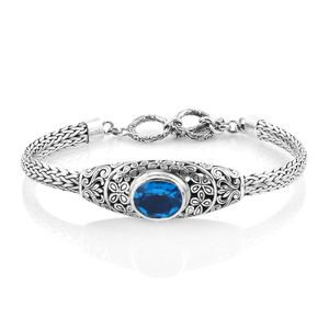Bali Legacy Collection Caribbean Quartz Sterling Silver Bracelet (7.50 In) TGW 4.83 cts.