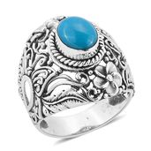 Bali Legacy Collection Arizona Sleeping Beauty Turquoise Sterling Silver Butterfly Ring (Size 7.0) TGW 2.10 cts.