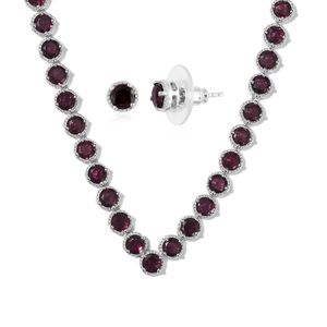 Orissa Rhodolite Garnet Platinum Over Sterling Silver Earrings and Necklace (Adjustable) With Chain (20 in) TGW 22.50 cts.