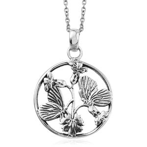 Sterling Silver Butterfly Pendant With Stainless Steel Chain (20 in)