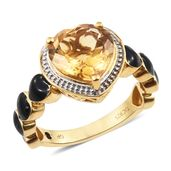 GP Brazilian Citrine, Kanchanaburi Blue Sapphire Vermeil YG Over Sterling Silver Ring (Size 9.0) TGW 4.13 cts.