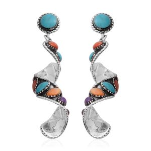 Artisan Crafted Kingman Turquoise, Multi Gemstone Sterling Silver Swirl Earrings TGW 6.00 cts.