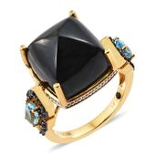 GP Australian Black Tourmaline, Multi Gemstone Vermeil YG Over Sterling Silver Ring (Size 7.0) TGW 28.08 cts.