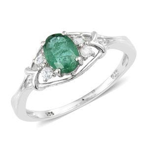 Premium Brazilian Emerald, Cambodian Zircon Platinum Over Sterling Silver Ring (Size 9.0) TGW 0.97 cts.