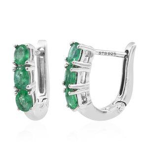 Premium Brazilian Emerald Platinum Over Sterling Silver Latch Back Earrings TGW 1.04 cts.