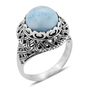 Bali Legacy Collection Larimar Sterling Silver Ring (Size 7.0) TGW 9.81 cts.