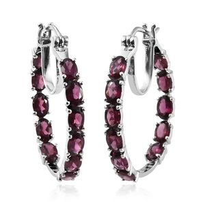 Orissa Rhodolite Garnet Platinum Over Sterling Silver Inside Out Hoop Earrings TGW 11.60 cts.