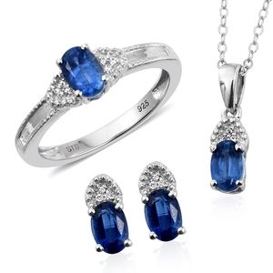 Himalayan Kyanite, Cambodian Zircon Platinum Over Sterling Silver Earrings, Ring (Size 7) and Pendant With Chain (20 in) TGW 2.72 cts.