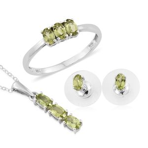 Hebei Peridot Platinum Over Sterling Silver Earrings, Ring (Size 8) and Pendant With Stainless Steel Chain (20 in) TGW 2.10 cts.