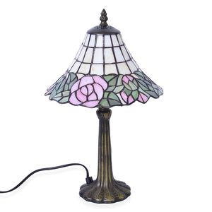 Home Decor Rose Resin, Glass Tiffany Style Mosaic Table Lamp (10 in) (Requires E-26 Bulb Adapter Included)