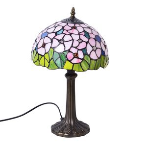 Home Decor Pink Resin, Glass Tiffany Style Floral Mosaic Table Lamp (10 in) (Requires E-26 Bulb Adapter Included)