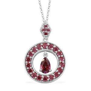 J Francis - Platinum Over Sterling Silver Pendant With Chain Made with Red SWAROVSKI ZIRCONIA (20 in) TGW 3.69 cts.
