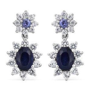 Masoala Sapphire, Tanzanite, Cambodian Zircon Platinum Over Sterling Silver Floral Drop Earrings TGW 6.52 cts.
