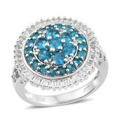 Malgache Neon Apatite, White Topaz Platinum Over Sterling Silver Cluster Flower Ring (Size 10.0) TGW 3.68 cts.