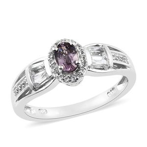 Burmese Lavender Spinel, White Topaz Platinum Over Sterling Silver Ring (Size 6.0) TGW 1.29 cts.