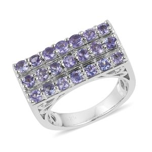 Tanzanite Sterling Silver Cluster Signet Ring (Size 8.0) TGW 2.25 cts.