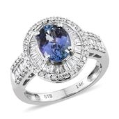 14K WG Peacock Tanzanite (2A), Diamond Ring (Size 7.0) TDiaWt 0.61 cts, TGW 2.61 cts.