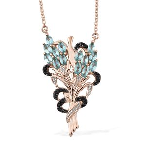 GP Madagascar Paraiba Apatite, Thai Black Spinel, Kanchanaburi Blue Sapphire Vermeil RG Over Sterling Silver Floral Bouquet Pendant With Chain (20 in) TGW 2.66 cts.