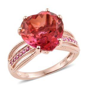 Arizona Sunset Quartz, Madagascar Pink Sapphire Vermeil RG Over Sterling Silver Heart Split Ring (Size 7.0) TGW 10.30 cts.