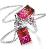 Arizona Sunset Quartz, Morro Redondo Pink Tourmaline Platinum Over Sterling Silver Ring (Size 7) and Pendant With Chain (20 in) TGW 17.95 cts.