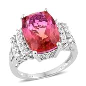 Arizona Sunset Quartz, Cambodian Zircon Platinum Over Sterling Silver Ring (Size 8.0) TGW 11.90 cts.