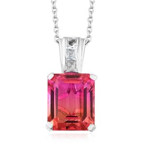 Arizona Sunset Quartz, White Topaz Platinum Over Sterling Silver Pendant With Chain (20 in) TGW 7.58 cts.