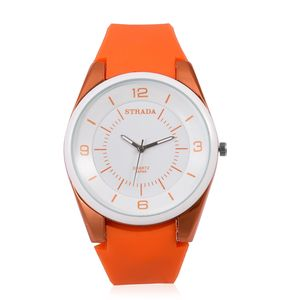 STRADA Japanese Movement Water Resistant Watch with Orange Silicone Band and Stainless Steel Back