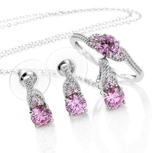 J Francis - Platinum Over Sterling Silver Earrings, Ring (Size 8) and Pendant With Chain (20 in) Made with Pink SWAROVSKI ZIRCONIA TGW 6.60 cts.