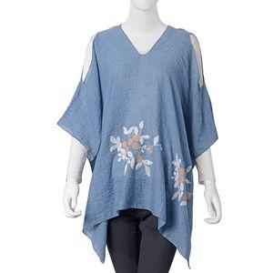 Blue 100% Polyester Embroidered Floral Cold Shoulder V-Neck Poncho (One Size)