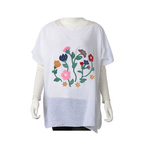 White Embroidered Floral Pattern 100% Polyester Poncho (34.25x27.56 in)