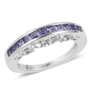 Tanzanite, White Topaz Sterling Silver Channel Ring (Size 5.0) TGW 1.60 cts.