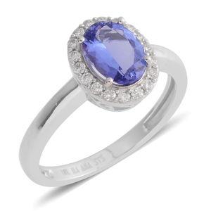 ILIANA 18K WG Premium AAA Tanzanite, Diamond Halo Ring (Size 7.0) TDiaWt 0.22 cts, TGW 1.63 cts.