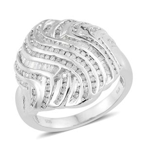 Diamond Platinum Over Sterling Silver Ring (Size 9.0) TDiaWt 1.00 cts, TGW 1.00 cts.