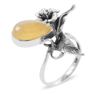 Bali Legacy Collection Burmese Honey Jade Sterling Silver Ring (Size 9.0) TGW 8.09 cts.