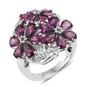 Orissa Rhodolite Garnet, Cambodian Zircon Platinum Over Sterling Silver Floral Ring (Size 6.0) TGW 9.35 cts.