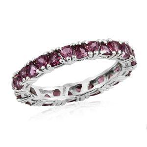 Orissa Rhodolite Garnet Platinum Over Sterling Silver Eternity Band Ring (Size 6.0) TGW 3.64 cts.