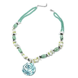 Simulated Aventurine Beads, Multi Gemstone Silvertone Carved Rose Necklace (30-32 in) TGW 829.00 cts.